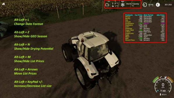 DISPLAY DATE 4 SEASONS MOD V1 0 0 5 - Farming simulator